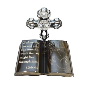 Crystocraft Bible Cross Crystal Religious Ornament Swarovski Element Gift Boxed