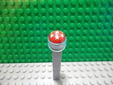 Lego mini figure 1 Red motorcycle hat helmet white stars with light blue visor