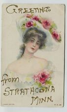 1909 Strathcona Minnesota Pretty Lady in hat Postcard Postal cancel Strathcona