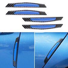 4pcs Carbon Fiber Blue Reflective Side Door Edge Trim Protection Guard Stickers