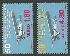 MEXICO 1978 AIRMAIL ROUTE AIRCRAFT SINGLE SET MNH