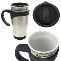 2 Ceramamugs Ceramic Lined Stainless Steel 12oz Travel Mugs With Lids Coffee Tea