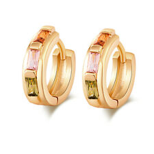 18K Gold Color Multicolor Rectangle Zircon CZ Round Circle Hoop Huggie Earrings