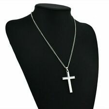 USPS Stainless Steel Cross Pendant Necklace for Men Women Free Chain 20