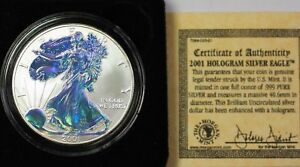 2001 American Silver Eagle ASE Coin $1 Holographic W/ Case & COA 1 Ozt of .999
