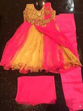 "22"" Age 3 Size Kids Bollywood Salwar Kameez Indian Girls Dress Cream  Pink Beige"