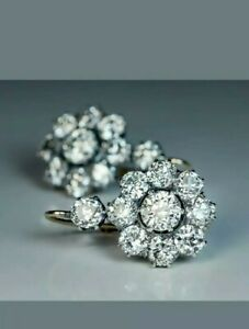 2 Ct Round Cut Diamond Cluster Antique Drop Dangle Earrings 14k White Gold Over