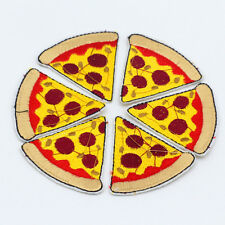 DIY Pizza slices Design Embroidered Cloth Iron-On Patches Sewing Motif Applique