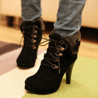 Womens Faux Suede Lace up High Heel Ankle Short Boots Shoes UK Size 1.5--8 A208
