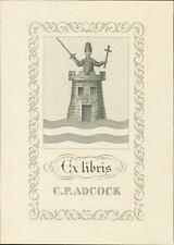 C P Adcock. Castle. Cross. Sword.   Bookplate  QR701