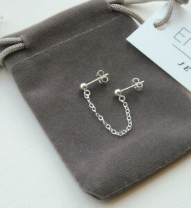 Sterling Silver Double Lobe Piercing Earring - Chain Studs For Two Holes