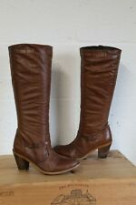 BROWN LEATHER HIGH HEEL RIDING STYLE BOOTS SIZE 4 / 37 WELL USED CONDITION