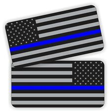 (2) Police American Flag Helmet | Hard Hat Stickers Decals Labels Thin Blue Line