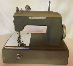"""VINTAGE Kenmore SMALL MINI CHILDS SEWING MACHINE Green 10"""" Long 10"""" High"""