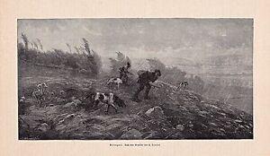 Jagd, Jagdhunde - Verregnete Treibjagd. Holzstich nach Loujot um 1895