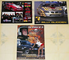 """THREE DIFFERENT """"BILLY GLIDDEN"""" PRO MOD DRAG RACING HANDOUTS IN VG CONDITION!!!"""