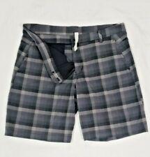 LULULEMON  Mens Dark Gray Plaid Shorts Sz 40  Golf Travel Comfort 20 Inch Long