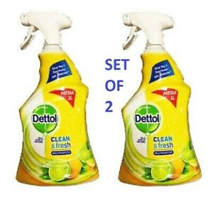 2X DETTOL CLEAN & FRESH MULTIPURPOSE SPRAY MEGA 2x 1L KILLS 99%  BACTERIA
