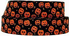 "Grosgrain Ribbon 7/8"" & 1.5"" Halloween Jack O Lantern Pumpkins Printed."