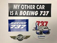 Lot of 4 Boeing 737 Stickers Wings Plane Bumper Sticker