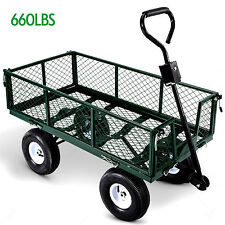 Heavy Duty Steel Wagon Cart Garden Dump Lawn Utility Trailer Yard 660LB