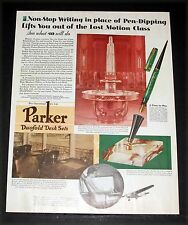 1930 OLD MAGAZINE PRINT AD, PARKER PEN DUOFOLD DESK SETS, FOR NON-STOP WRITING!