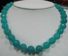 "10mm Aquamarine Round Beads Necklace 18"""