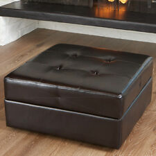 Brown Leather Storage Ottoman Coffee Table /w Tufted Top