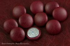 10 Upholstery Buttons Antique Dark Red / Oxblood Leather 25mm