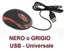 Mouse ottico led sottile USB.Nero,o grigio.Luce rossa.2 tasti + scroll.Mac,Linux