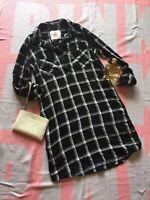 SO SHIRT DRESS size XS black and white plaid 3/4 sleeve side pockets 100% rayon