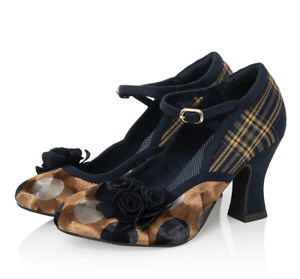 Ruby Shoo Dee Dee Navy Mustard Womans Heel Mary Jane Buckle Strap Court Shoe