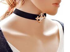 Gothic Velvet Leather Cross Women Choker Neck Black Necklace Pendant Gift AL
