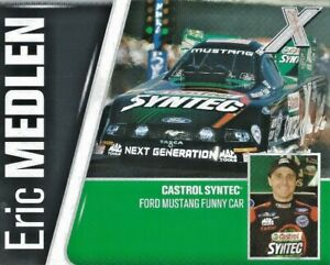 NHRA PHOTO CARD OF THE LATE ERIC MEDLEN/JOHN FORCE RACING FUNNY CAR-CASTROL-FORD