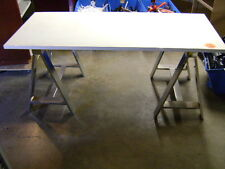 CHROME METAL SAW HORSE LIKE TABLE GLOSSY WHITE LAMINATE TABLE TOP