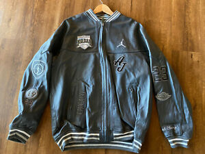Official Member Air Jordan Flight Club 07 Leather Jacket Gray 3XL Rare