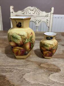 Aynsley Orchard Gold 2x Vases 13.5 cm - 9 cm