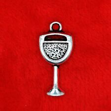 10 x Tibetan Silver Wine Goblet Glass of Wine Charms Pendants Finding Beads