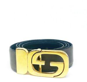 VINTAGE 1970's GUCCI Reversable Grey Navy Leather Gold G Buckle Belt