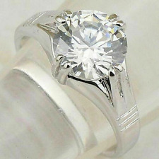3Ct White Round Cut Solitaire Moissanite Engagement Ring In Solid 14K White Gold