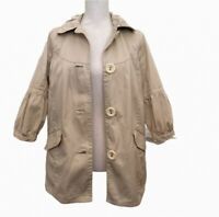 TRF Collection Womens Trench Coat Beige Khaki Tan Buttons Collar S