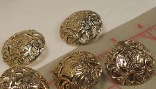 """5 Fine Italian Metal Shank Buttons Flowing Floral Filigree X Large Gold 1-1/4"""""""