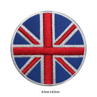 UK National Flag Round Embroidered Patch Iron on Sew On Badge For Clothes etc