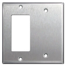 (5 pc) 2-Gang GFCI Decorator / Blank Stainless Steel Combo Metal Wall Plate