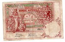 Belgique Belgium Billet 20 Francs 01/10/ 1910 P67 LION  BRUXELLES
