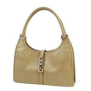 GUCCI Micro Small GG Jackie Used Hand Bag Beige Leather Vintage Auth #BA559 S