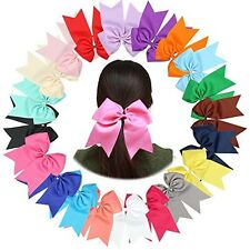 "20 Pcs 8 "" huge Bows Ponytail Holder,Hair Bows Elastic Hair Tie for School Girls"