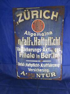 orig. Emailleschild Zürich Versicherung Filiale Berlin Agentur 50 x 33cm gewölbt