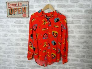 DOCKERS ladies Hawaiian shirt blouse viscose tropical festival bright S/P T161