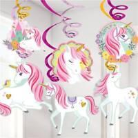 MAGICAL UNICORN HANGING SWIRLS DECORATIONS BIRTHDAY PARTY SUPPLIES